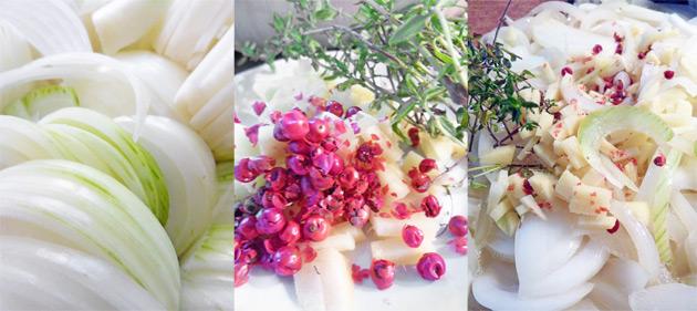 Confit mit weißen Zwiebeln, Ingwer, Thymian und rosa Pfeffer