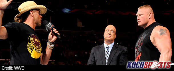 "Video: Shawn Michaels backs Triple H at SummerSlam; goes ""face to face"" with Brock Lesnar"