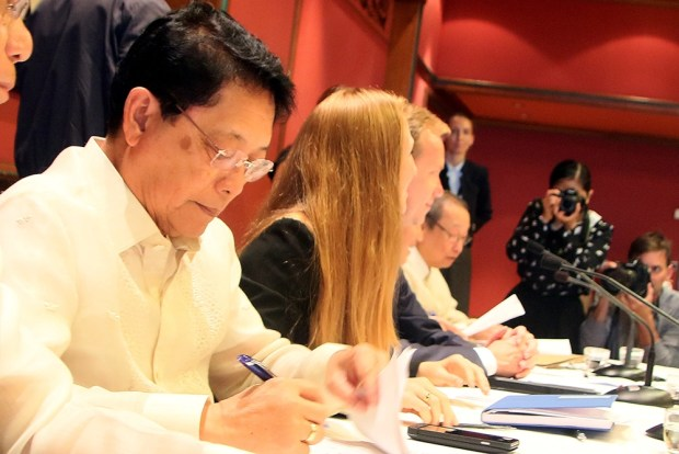 Secretary Silvestre Bello III at the closing ceremony of the first rounds of formal talks between the GRP and the NDFP. (Photo by Jon Bustamante)