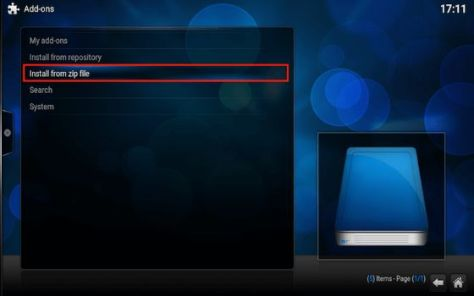 Kodi Addon Install from Zip