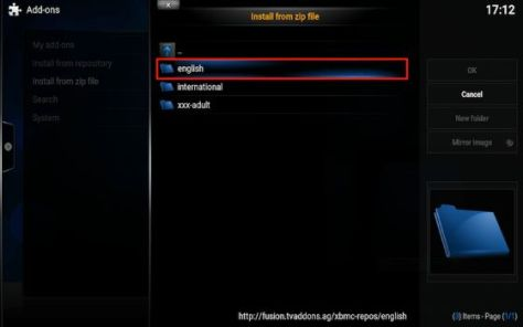 Kodi Addon Select English