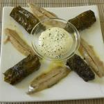 Dolmades with Sardines and Black Couscous