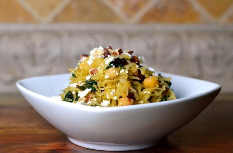 Spaghetti squash with chard chickpeas, by Cara