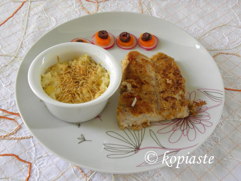 Breaded perch and Savoury Rice Pudding