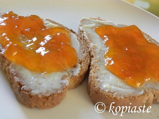 Apricot jam for breakfast