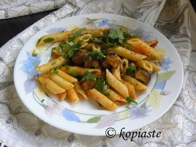Penne Mushrooms and Marinara Sauce