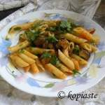 Penne Skordalia with Courgettes and Olives