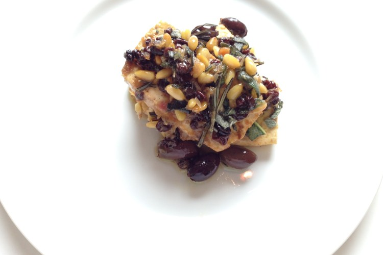 Tofu With Currants, Pine Nuts, and Olives