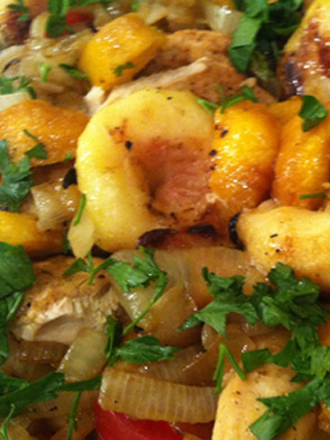 Grilled Chicken, Peach & Onion Salad