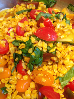 Roasted Corn, Heirloom Tomato and Basil Salad