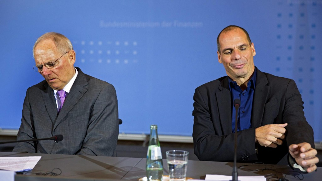 Greek finance minister Varoufakis in Germany...epa04604450 German Finance Minister Wolfgang Schaeuble (L) and Greek Finance Minister Yanis Varoufakis (R) sit for a joint press conference in Berlin, Germany, 05 February 2015. The meeting between Varoufakis and Schaeuble comes after the European Central Bank (ECB) decided to turn up the pressure on Greece over its vow to renegotiate the terms of its bailout by refusing to accept Greek government bonds as security for loans. EPA/MICHAEL KAPPELER