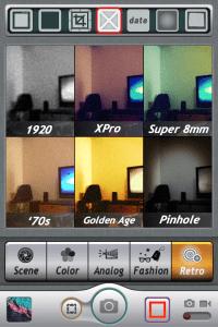 6種類のフィルター画面