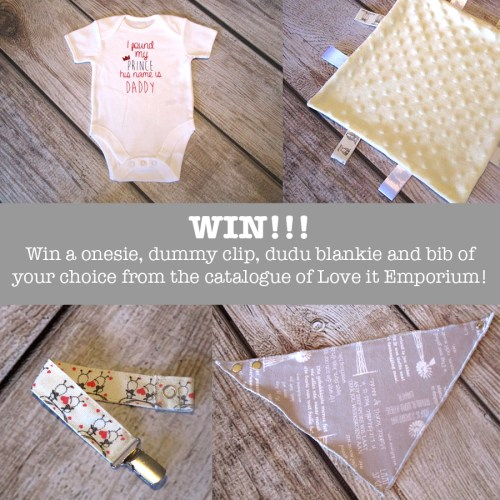 Giveaway!!! A onesie, dummy clip, dudu blankie and bib of your choice!!!