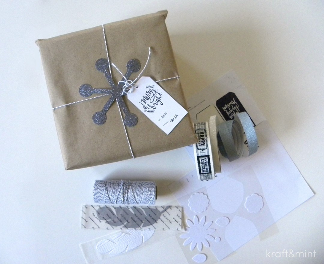 Summary of materials: bakers twine, sparkle tape, Paperchase tape and modern snowflake I made a while ago.