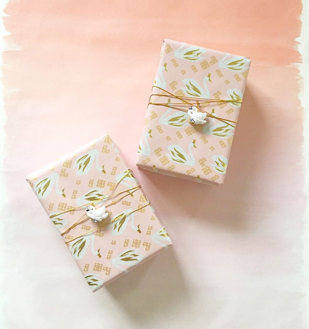 Gift wrapping with pink and gold