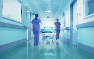 Bright lights at the end the hospital corridor. The concept of life and death.
