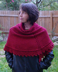 half circle shawl - red 2