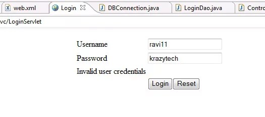 Login application in Java using MVC and MySQL