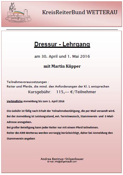 Dressurlehrgang mit Martin Küpper – entfällt