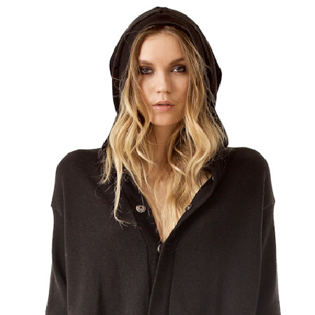 MYLENE BLACK HOODED CARDIGAN