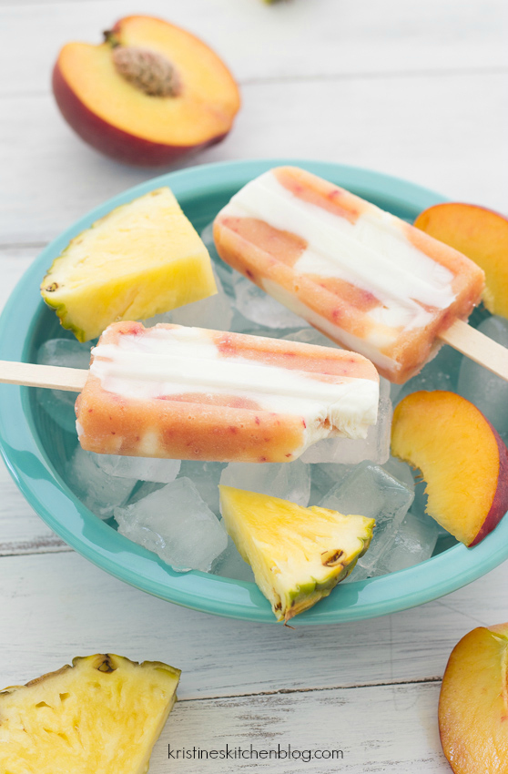 Pineapple-Peach Yogurt Popsicles - a refreshing and healthy treat | Kristine's Kitchen