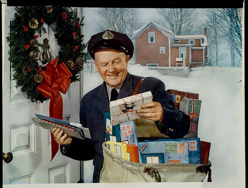 postman at Christmas time