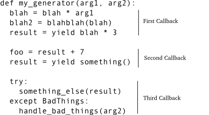 Figure 35: generator as a callback sequence