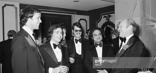 SATURDAY NIGHT LIVE -- Radio/TV Correspondents' Dinner -- Pictured: (l-r) Chevy Chase, Lorne Michaels, Dan Aykroyd, John Belushi, President Gerald Ford on March 25, 1976 -- Photo by: Fred Hermansky/NBCU Photo Bank