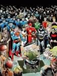 Joe Kubert's illustration of himself surrounded by the characters he'd drawn and created over the years.