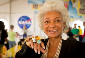 Actress Nichelle Nichols, known for her most famous role as communications officer Lieutenant Uhura aboard the USS Enterprise in the popular Star Trek television series, displays her Lego astronaut ring while visiting the Build the Future activity where students created their vision of the future in space with LEGO bricks and elements inside a tent that was set up on the launch viewing area at NASA's Kennedy Space Center in Cape Canaveral, Fla. on Monday, Nov. 1, 2010.  NASA and The LEGO Group signed a Space Act Agreement to spark children's interest in science, technology, engineering and math (STEM). Photo Credit: (NASA/Bill Ingalls)NASA Identifier: nasahqphoto-5161637425