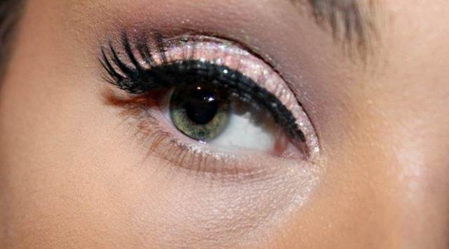 close up glitter eye