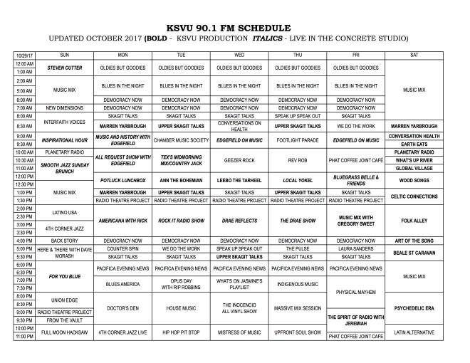 KSVU SCHEDULE Oct-29-17
