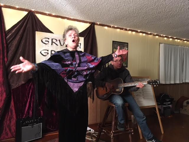 For the Grub & Groove in Jan 2018, DJ Linden invited Station Manager Erma to perform an opera. Being a good sport, she was up for the challenge and performed an outstanding aria!   (Photo by Terri Wilde)