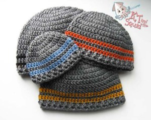 Two stripe beanie free crochet pattern