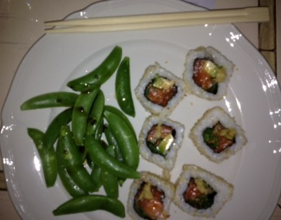 Salmon Avocado Makis with Edamame