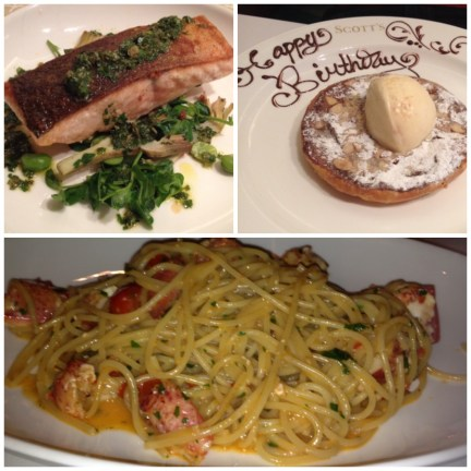 Fillet of Esk Sea Trout with braised artichokes, broad beans & salsa verde; Lobster Linguini; Bakewell Tart with Almond Ice Cream