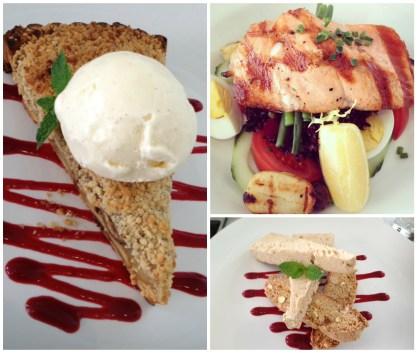 Banana & Apple Pie with Vanilla Bean Ice Cream; Salmon Nicoise Salad; Coffee Biscotti Parfait