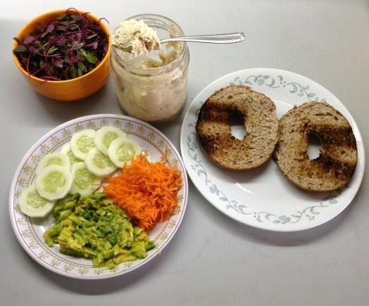 Ultimate Veggie Sandwich set-up