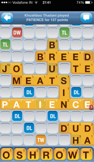Words With Friends - 137 points