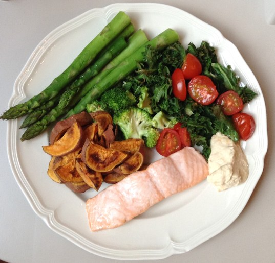 Grilled salmon with grilled veggies, sweet potato wedges & hummus