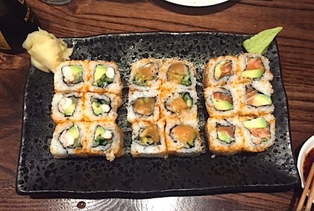 California roll, black cod roll & salmon avocado roll (from left to right)