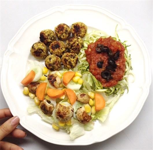 Lentil Meatballs & Zoodles