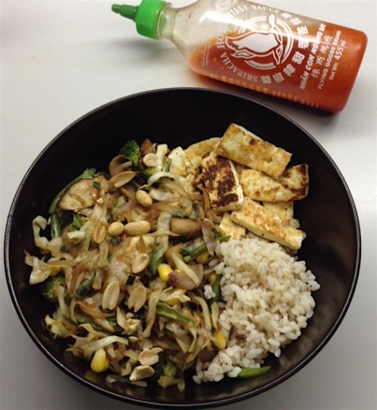 Tofu & Brown Rice Stir Fry with Sriracha