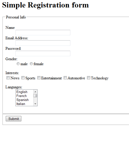 Php form template form registration and login simple for Basic registration form template