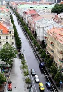 Dawna ulica Adama Mickiewicza (obecnie Al. Giedymina). Widok z dzwonnicy katedralnej<br/> Fot. Marian Paluszkiewicz