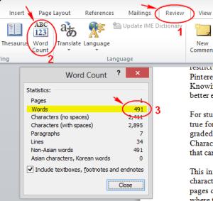 menghitung kata di word