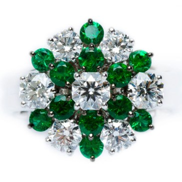 Emerald / Diamond Ring BC6349 EMERALD 0.785 ct DIAMOND 0.360 ct E VS2 HC DIAMOND 0.336 ct G VS2 HC DIAMOND 0.318 ct E SI1 HC DIAMOND 0.205 ct D VS2 HC DIAMOND 0.236 ct E VS2 HC DIAMOND 0.206 ct D VVS1 HC DIAMOND 0.238 ct D VVS1 HC PLATINUM 900