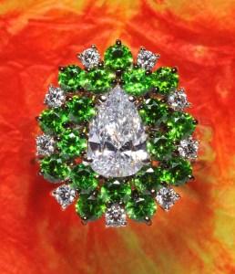 Demantoid Garnet & Diamond Ring BC5069