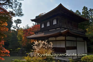 Ginkaku-ji with autumn leaves