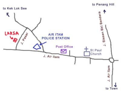 Map to Penang Asam Laksa at Air Itam